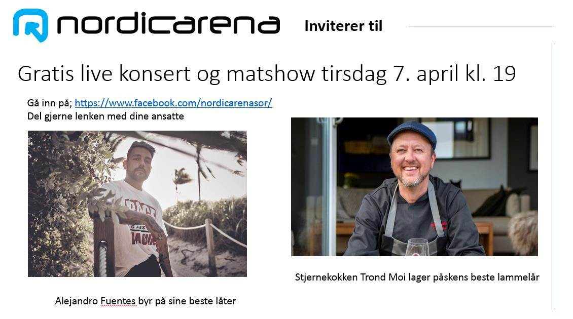 Konsert og matshow 7.april kl 19:00